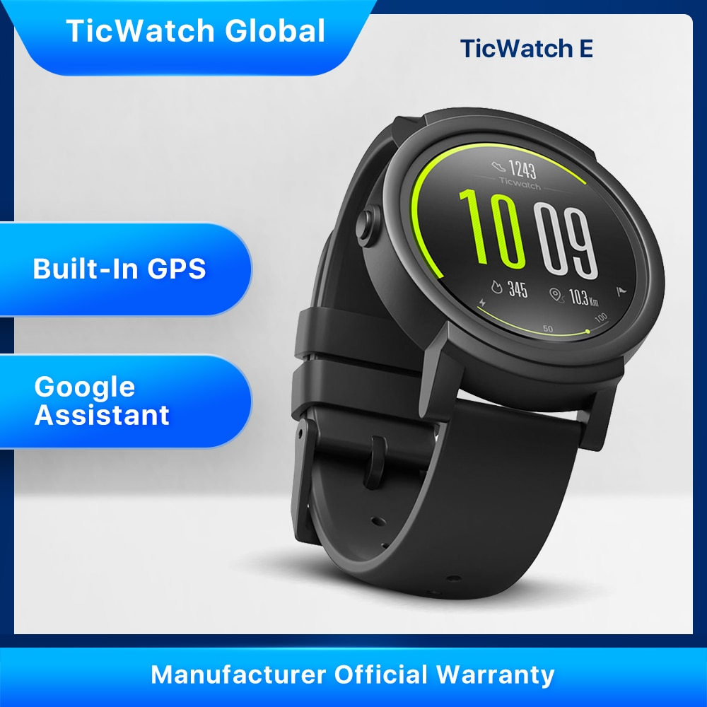 TicWatch E Smart Watch (Refurbished) Bluetooth GPS Sport Watch iOS Android Google Play IP67 Waterproof Multi-language
