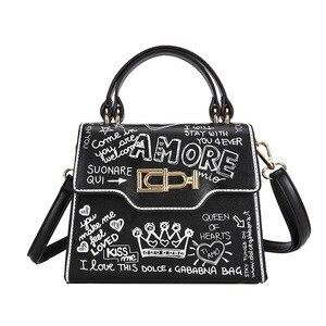 Fashion Graffiti Women Handbag Shoulder Bags Ladies Printing PU Leather Letter Purses and Handbags Luxury Designer Womens Totes