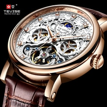 TEVISE New Mens Watches Top Brand Luxury Genuine Leather Automatic Mechanical Tourbillon Clock Water
