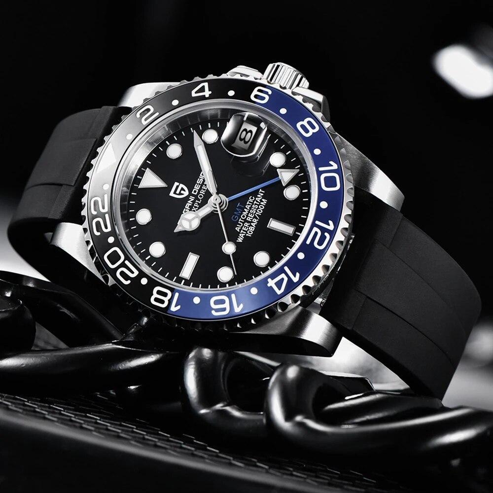 PAGANI DESIGN-ساعة رجالية ، حزام سيليكون مريح ، GMT ، ميكانيكية ، مضيئة ، مقاومة للماء ، أوتوماتيكية
