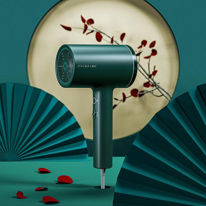 Zhibai anion secador de cabelo verde preto secagem rápida secadores de ventilador empacotados e viagem portátil