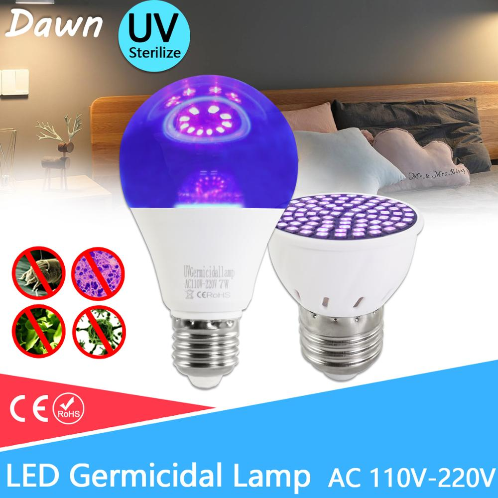 UV Germicidal Light LED Bulb GU10 E27 MR16 E14 UV Desinfection Lamp LED Sterilizer Lamp 2835 SMD 220