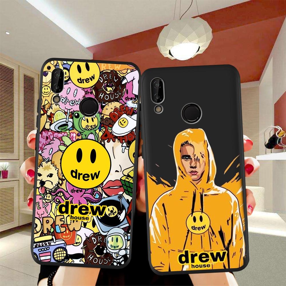Funda de teléfono de lujo con cara sonriente de la casa dibujada de Justin Bieber para Huawei P40, P30 Pro, P20, P10, P8 Lite 2017, Mate 30, 20 y 10 Lite Pro