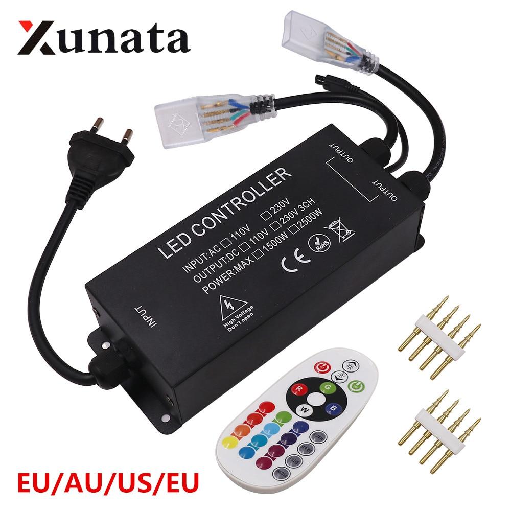 RGB تحكم لنا 110V 1500W الاتحاد الأوروبي الاتحاد الافريقي المملكة المتحدة 220V 2500W RGB تحكم مع 24key IR عن بعد ل 5050 2835 LED قطاع ضوء النيون 10 مللي متر