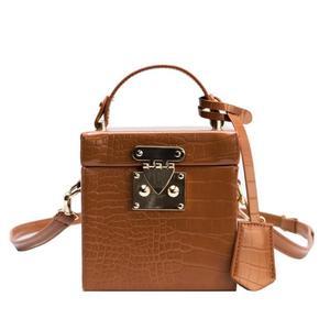 Leather Box Handbag Fashion PU Messenger Bag for women 2020 New Alligator Pattern Crossbody Bag Vintage Shoulder-bag Frame Bag