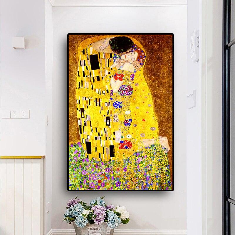 Beso de Gustav Klimt, bordado de diamantes, regalo de amor para amor DIY, pintura de diamante de punto de cruz 5d, taladro redondo cuadrado 5d, rompecabezas YG1786