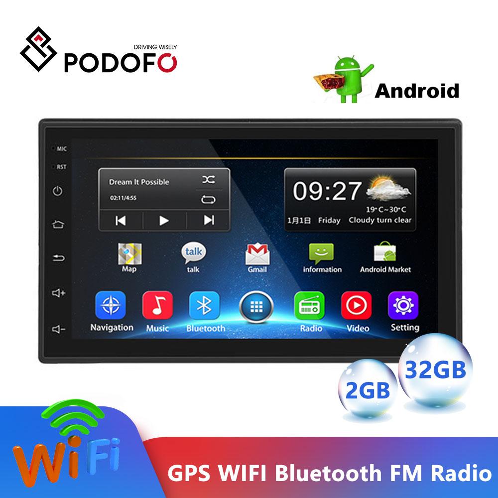 "Podofo Android 2Din 2.5D coche Multimedia MP5 reproductor de Radio GPS Wifi Autoradio 7 ""Bluetooth de enlace grabadora de Cassette ESTÉREO"