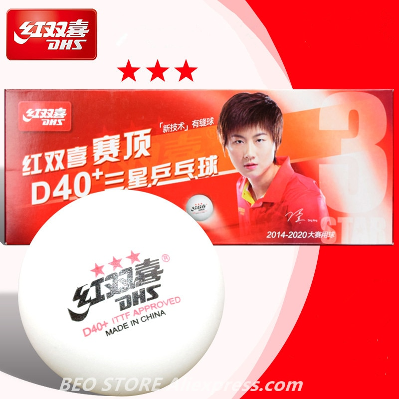 DHS 3 Star D40+ Table Tennis Ball 3-STAR New Material ABS Seamed Poly Plastic Original DHS Ball 3 Star Ping Pong Balls