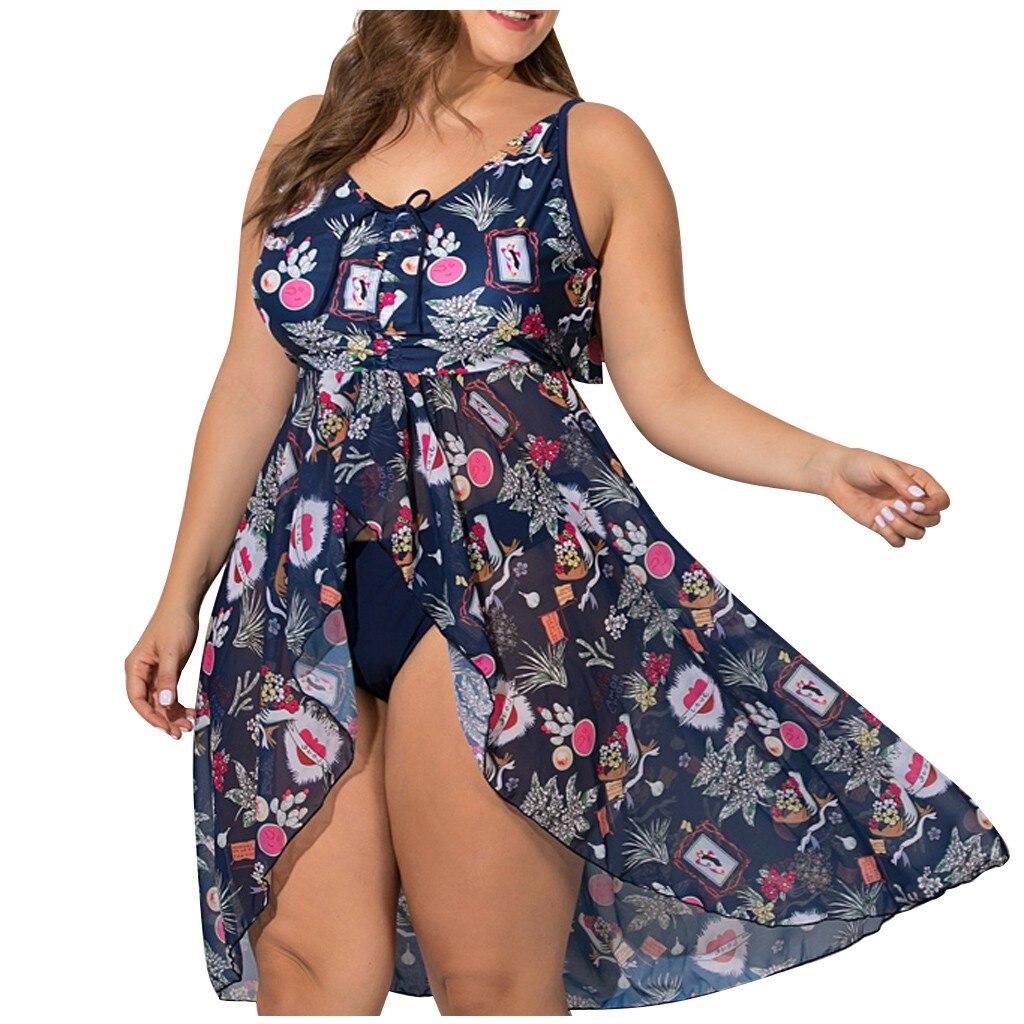 Traje de baño de dos piezas de talla grande para mujer, conjunto de Bikini dividido con estampado Floral, traje de baño para playa para mujer