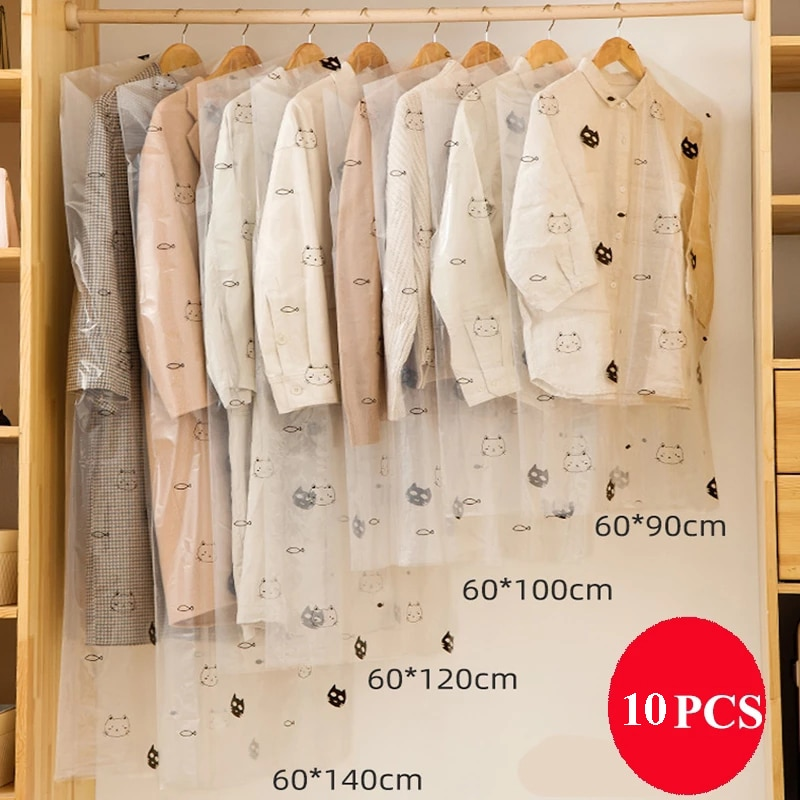 10pcs/Lot Plastic Transparent Clothes Dust Cover Hanging Pocket Storage Bag Wardrobe Garment Dry Cleaner Suit Coat Protector Bag