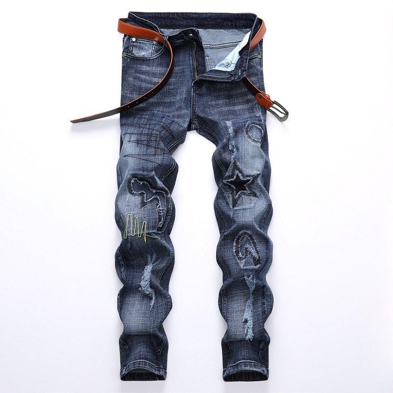 Европейские и американские мужские джинсы светлые цветные эластичные рваные джинсы тренд Мужские штаны рваные джинсы для мужчин байкерски...