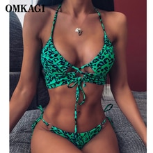 OMKAGI bandeau maillot de bain Bikini pour femme Micro maillot de bain Push Up Bikini femmes maillots de bain Biquini léopard haute coupe Bikinis 2020
