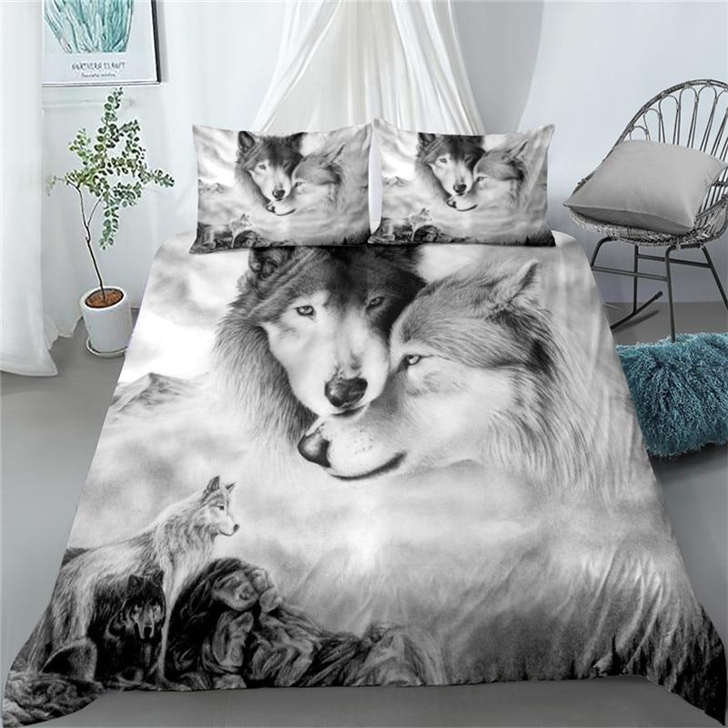 طقم لحاف سرير رقمي ، غطاء وولف ، سرير فردي ، مزدوج ، كوين ، سرير بحجم كينج ، كتان