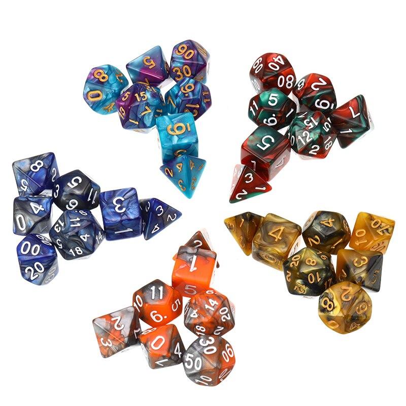 7 unids/set juego dados D & D dados multicolores mixtos D4 D6 D8 D10 D12 D20 DND dados de plástico de alta calidad