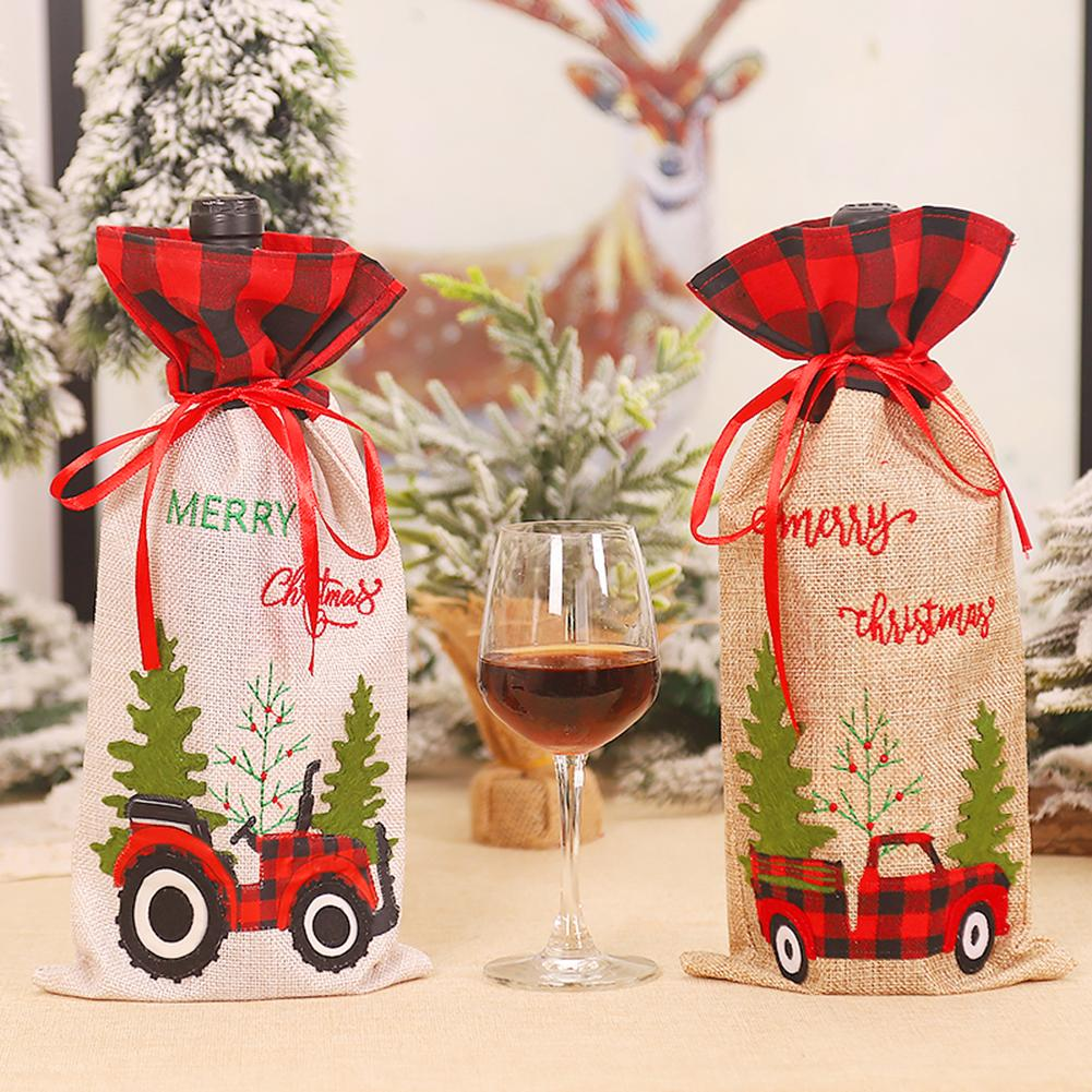 Dropshipping Festival supplies Merry Christmas Tree Car Plaid Wine Bottle Cover Champagne Bag Holida