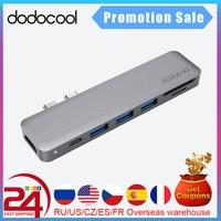 Концентратор USB Type-C dodocool 7 в 1 с двумя портами USB USB-C и кардридером SD/TF для 4K, 3 порта USB 3,0