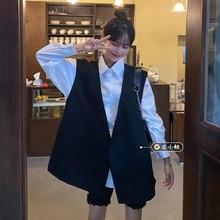 Summer 2021 New Loose Versatile Pocket Shirt + Design Sense V-neck Vest Two-Piece Set Fashion Suit W