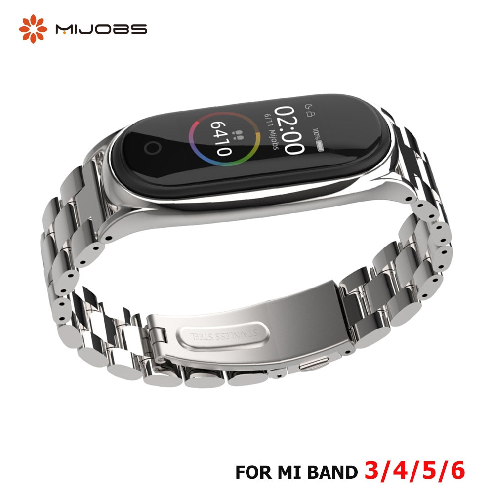 Strap For Xiaomi Mi Band 5 4 3 6 Stainless Metal Opaska  Correa Mi Bend 4 Miband 5 Wristbands Bracelet  Global Version NFC