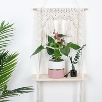 boho nordic macrame woven cotton rope tapestry floating shelf display rack wall hanging plants holder home wall decor supplies