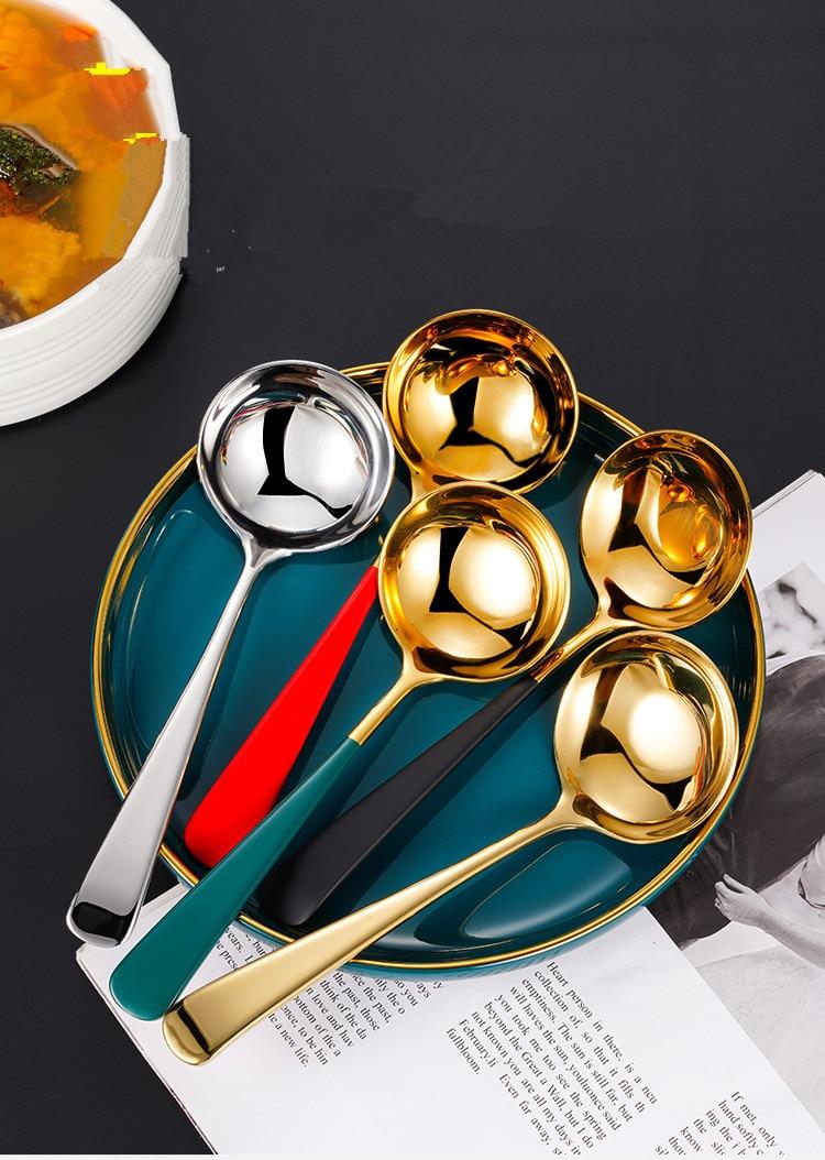 Cucharón con mango de teflón largo de acero inoxidable, cucharón de sopa grande, útil para cocina, utensilio de cocina, cuchara con colador OK 1166 1 unidad