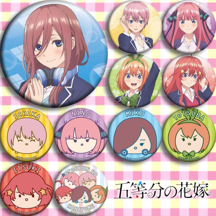 11 uds/1 lote Anime The Quintessential Quintuplets Ichika Nino Miku Yotsuba figura 4834 insignias broche redondo Pin regalos niños juguete