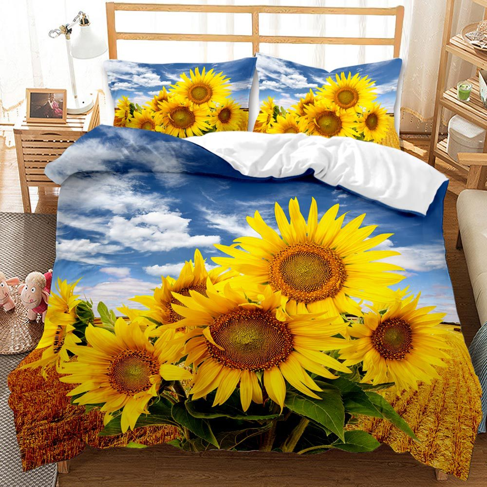 الريفية زهرة عباد الشمس طقم سرير لغرفة النوم Comefortable حاف الغطاء لينة المفارش ل أغطية سرير لحاف و المخدة