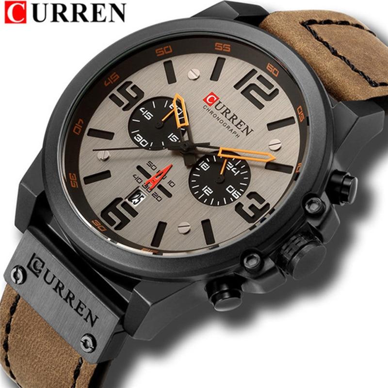 Nouveau CURREN hommes montres haut de gamme de luxe hommes militaire Sport montre-bracelet en cuir montre à Quartz erkek saat Relogio Masculino