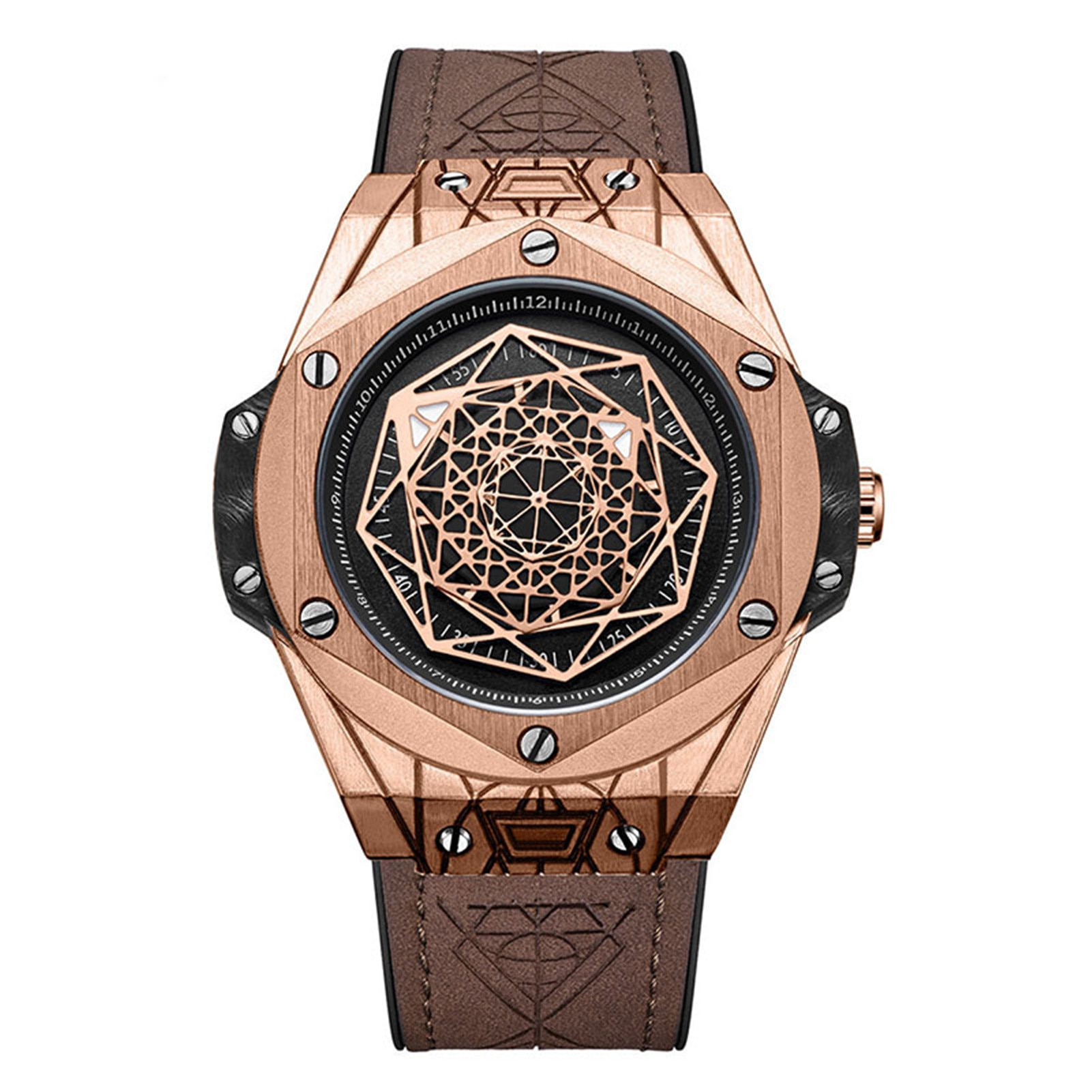 Exquisite Gentleman Geometry Identity Personalized Quartz Watch Waterproof Fashion Glass Mirror Round Dial H9