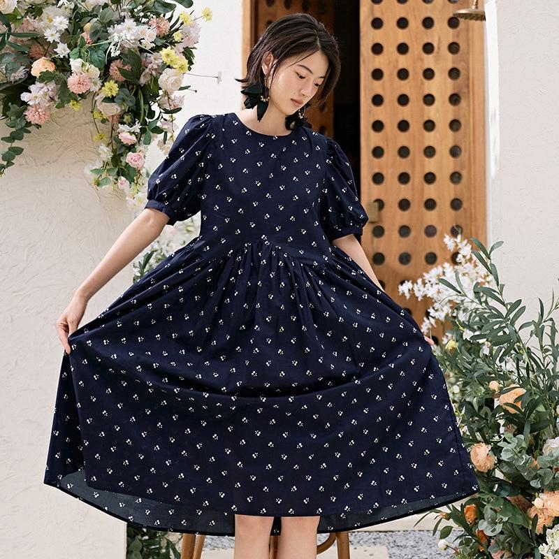 Vestido sexy para mujer, de manga corta, fruncido, cintura alta, sencillo, plisado, cuello redondo, suelto, b555