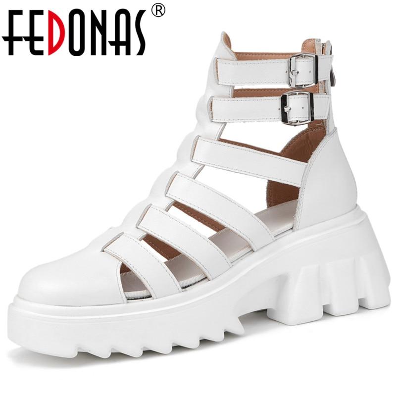 FEDONAS عودة زيبر المرأة أحذية الصيف 2021 موضة النساء مضخات جلد طبيعي أحدث حزب الأساسية سميكة الكعوب أحذية امرأة