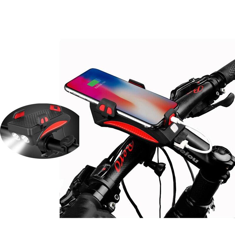 Soporte Universal para bicicleta para teléfono móvil con faro, batería recargable, soporte impermeable para teléfono móvil