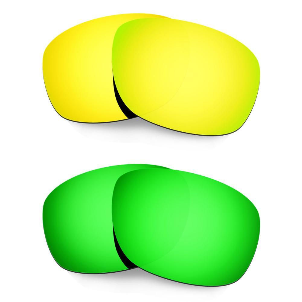 HKUCO ل عشرة × نظارات الاستقطاب استبدال العدسات 2 أزواج الذهب والأخضر