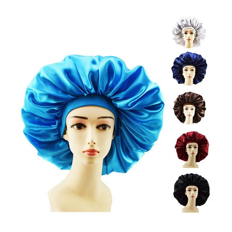 New Fashion Big Size Satin Silk Bonnet Sleep Night Cap Head Cover Bonnet Hat For Curly Springy Hair