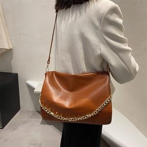 Soft Pu Leather Simple Shoulder Bag Women Solid Color Chain Large Capacity Shoulder Messenger Bag Flap Handbag Autumn and Winter