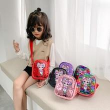 Sac à dos à paillettes PU pour filles   LOL Surprise poupées enfants, sac de rangement messager à épaule dessin animé mignon porte-monnaie, nouvelle collection