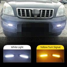 Feux de jour LED DRL avec clignotant, pour Toyota Land Cruiser Prado 120 GRJ120 TRJ120 FJ120 LC120 2002 – 2010, 2 pièces