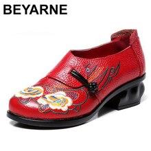 BEYARNE 2020 printemps automne femmes chaussures rétro talons épais chaussures à semelles souples chaussures pour femmes brodées chaussures en cuir véritable