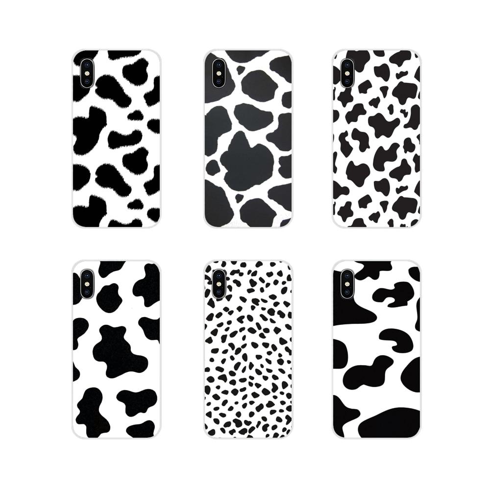 Funda de piel de teléfono de silicona para Apple iPhone X XR XS 11Pro MAX 4S 5S 5C SE 6S 7 8 Plus ipod touch 5 6 blanco negro vaca con símbolo de manchas
