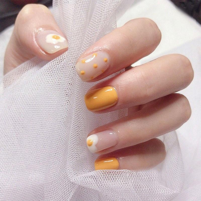 24pcs/set Mango Yellow Poached Egg Full Cover False Nails Cartoon Pattern Cute Summer Fake Nails ladies fashion transparent nail