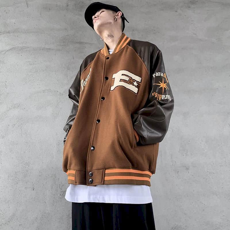 الربيع/الخريف الأمريكية الرجعية خياطة زي بيسبول سترة الرجال البيسبول ملابس النساء الهيب هوب الاتجاه المعتاد سترة غير رسمية