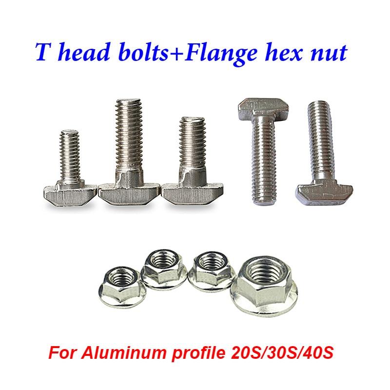 M5 M6 M8 T type Nuts Fastener Aluminum Connector Flange hex nut For Aluminum Profile 2020 3030 4040 DIY cnc router laser machine