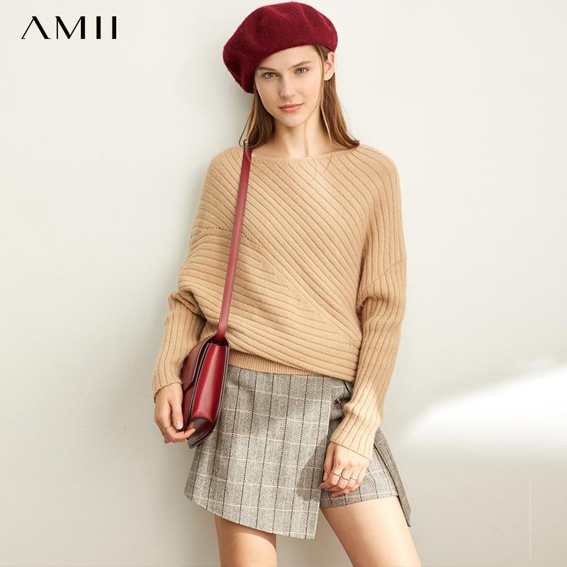 Amii otoño mujer suéter a la moda femenina suelta sólida fuera del hombro manga larga suéter Tops 11970511