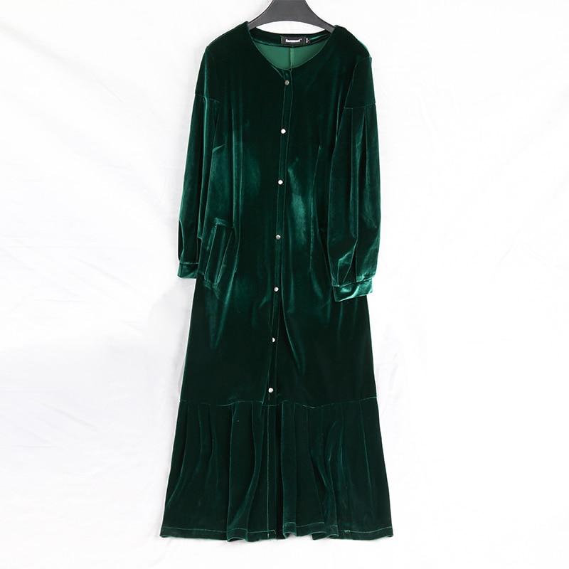 Nerazzurri primavera longo plissado veludo trench coat para mulher manga longa outono verde preto casaco plus size roupas femininas 7xl