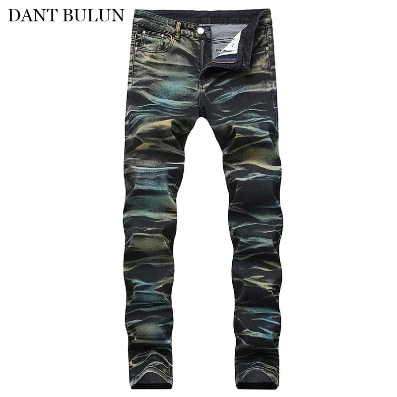 Мужские зауженные джинсы стрейч с цветным принтом, мужские джинсовые брюки, повседневные брюки стрейч, прямые мужские джинсы, Прямая постав...