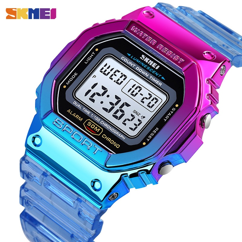 SKMEI Fashion Cool Girls Watches Electroplated Case Transparent Strap Lady Women Digital Wristwatch Shockproof reloj mujer 1622 enlarge