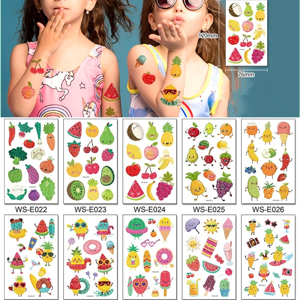 Фото - 10 Kinds Glitter Powder Children Tattoo Cartoon Fruits Cute Makeup Temporary Body Arm Stickers Disposable Tatouage Temporaire 10 kinds glitter powder tattoos children cartoon cars dinosaurs unicorns mermaid animal robot temporary body stickers disposable
