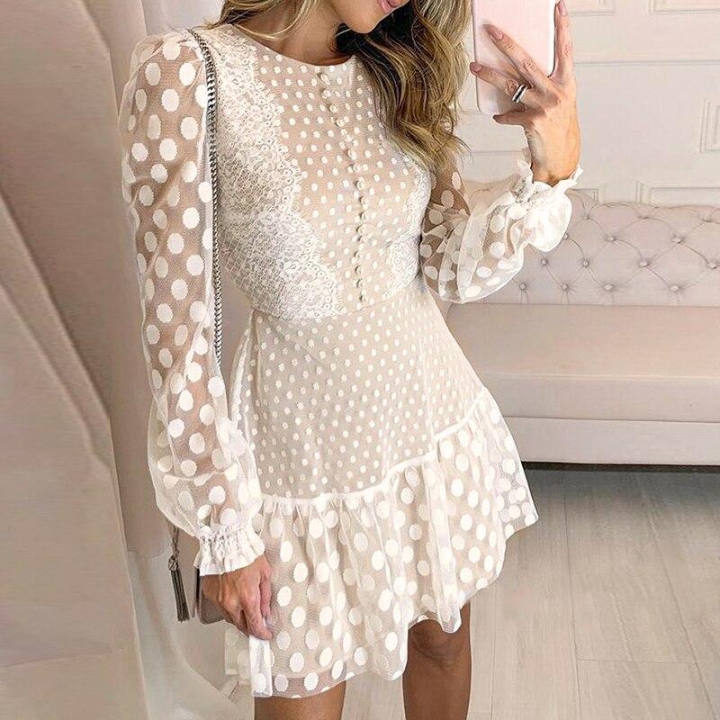 Lace Mini Dress Women Cloth Sexy Autumn Summer Party 2019 Vintage A-line Long Sleeve Elegant Office Boho Casual Club Dresses