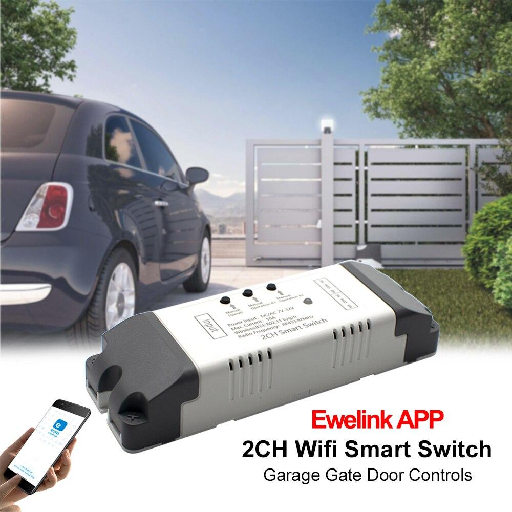 EWelink-와이파이 스위치 스마트 오프너, 2CH 앱 RF 433MHz 수신기 와이파이 릴레이 차고 문 게이트 알렉사 에코 구글 홈 컨트롤