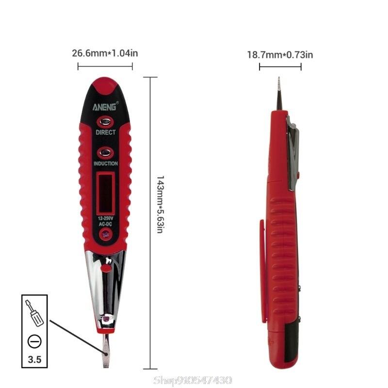 Lápis de teste digital mutifunctional 12-250v do detector de tensão da c.a./dc medidor bonde n13 20 dropship