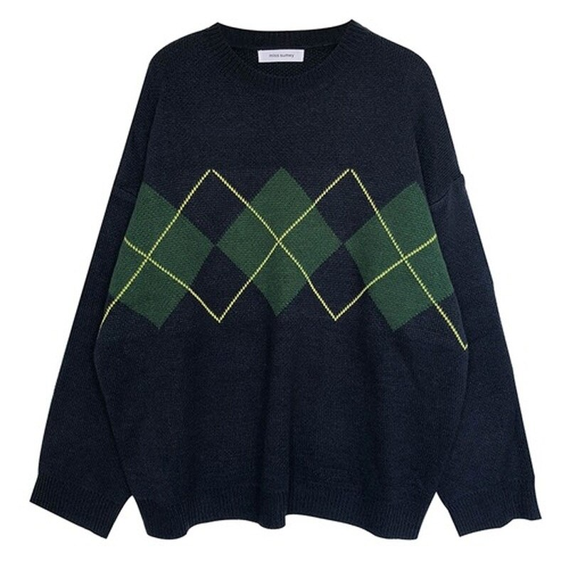 Women's knitted sweater, large loose pullover, Korean University fashion, winter enlarge